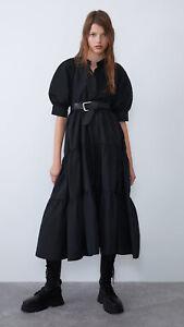 *BNWT* ZARA SZ/M Black Taffeta Boho Tiered Midi Dress With Pockets…Trinny Fave!!
