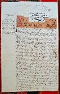 PERU multiple revenues 1 + 10 Sol plata 1872 1873 on legal sealed document Lima