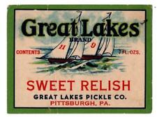 Vintage Can Label Great Lakes Sweet Relish  Pittsburgh, PA