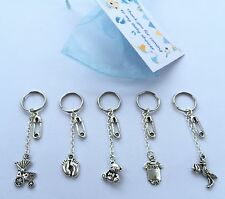 5 x Baby Shower Keyring Boy charms, mum to be, Pregnancy, Organza Tag gift