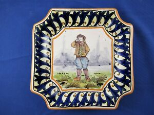 Antique Quimper small square plate tray dish Le Croisic 1826