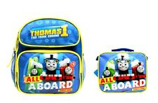"""ALL ABOARD"" Thomas the Train Engine 12"" Canvas School Backpack Plus Lunch Bag"