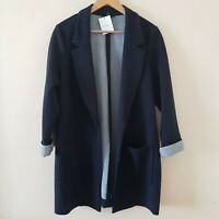 Next Navy Blue Jersey Blazer Longline Pocket Thick Textured Jacket Size 16,18,22