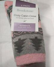 2 Pairs  Brookstone Cozy & Soft Cabin Crew Socks Aloe Infused Sock Size 9-11
