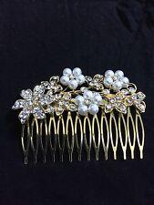 Vintage Style Gold Crystal Diamante Pearl Hair Comb Fascinator Wedding Bridal