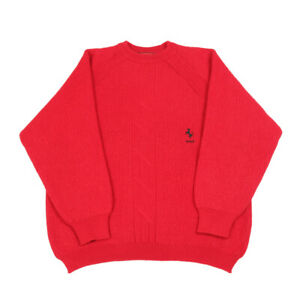 S 1980s Ferrari Red Vintage Angora Mock Neck Short Sleeve Sweater by Clifford /& Wills