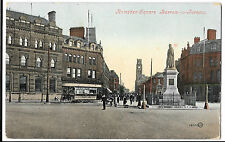 Ramsden Square, Barrow in Furness PPC, 1907 PMK, Lively Street Scene with Tram