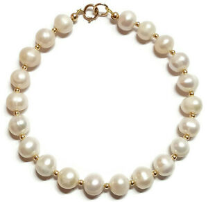 White Pearl Bracelet in 9ct Gold with Gold Beads, Sizes 6.5, 7.0, 7.5, 8.0 inch