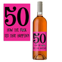 Funny 50th Birthday 50 Today Wine Bottle Label Gift Perfect For Her Women Pink