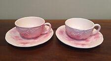 Salins Les Bains France Fruit Majolica Pink Cup & Saucer ~ Set of 2