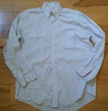 15.5-34 Brooks Brothers Long Sleeve Men's Shirt Light Blue Striped Defect