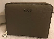 DKNY BRYANT CLAY EPI LEATHER CARRYALL ZIP PRESS STUD LOGO PURSE WALLET BNWT