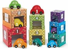 Nesting Sorting Garages Wooden Cars 14Pc Color Match Stack Set Developmental Toy
