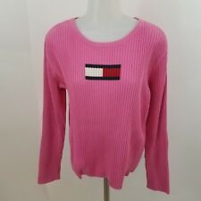 Tommy Hilfiger sweater top box flag logo XL pink ribbed long sleeve womens