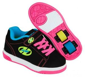 Heelys Dual Up Shoes - Black Neon Multi Roller Shoes