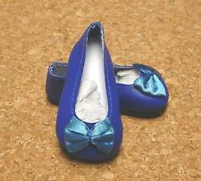 Doll Shoes, Dark Blue (Royal Blue) 58mm Slip on Flats with Bow