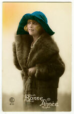 1920s Antique French BLOND FLAPPER fur coat tinted photo postcard