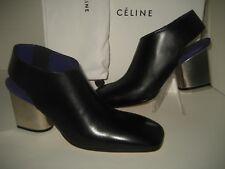 $1450 NEW CELINE US 9 EUR 39.5 Black Purple Leather Booties Mirror Heels Shoes