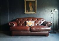 350 Chesterfield Vintage 2 Seater Leather Club Brown Courier av