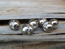 (6) VTG Silver Metal & Rhinestone SWAROVSKI Round Necklace Spacer Beads Spacers