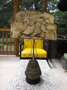 Original Matched MCM Ceramic Table Lamp w/ 2 Tier Fiberglass Shade Blk, Olive.