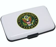 White Wallet Credit Card Holder with Army Symbol