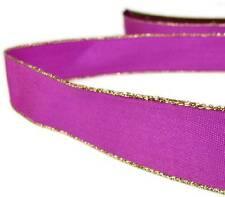 """2 Yds Gold Edge Fushia Pink Satin Wired Ribbon 7/8""""W"""