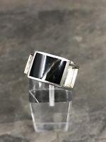 Sz 7, Vtg Sterling Silver Handmade Ring, 925 Silver Band W Obsidian Inlay