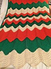 """Hand Crocheted Green, Orange, and Beige Afghan Throw Blanket 57""""x49"""""""