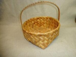 VINTAGE WOVEN BARK BASKET WITH HAND DECORATED HANDLE FOUND IN MAINE