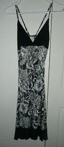 Black/white/silver floral Diseño LIZBETH sleepwear nightgown slip One Size