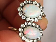 Rare Antique  vibrant Colour opal White Sapphire gold screw earring
