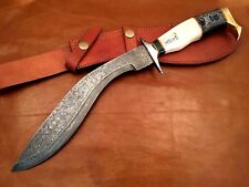 Handmade-Blacksmith Crafted Damascus Steel Kukri Knife-Functional-Made to Order