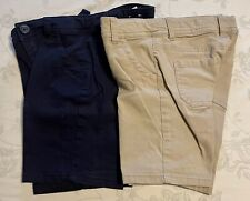 2 pair Girls Justice Navy & Khaki School Uniform Shorts 7 Adjustable