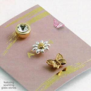 Avon Southern Belle Blouse Pins Rose Gold Tone Gem Stone Flower Modesty