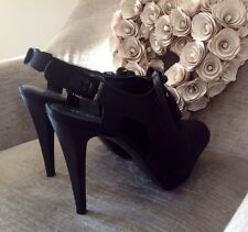 SERGIO ROSSI BLACK SATIN SLIM HIGH HEEL LACE UP SLING BACK SHOE ..... 37.5