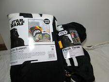 STAR WARS Plush Blanket 62x90 & Plush Throw 46x60 Black, Red, Yellow, Green Blue