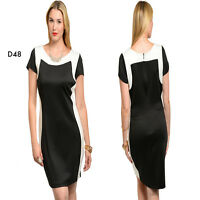 D48 Womens Short Sleeves Cocktail Wedding Formal Party Work Slim Plus Size Dress