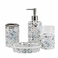 4-Piece Housewares Glass Mosaic Bathroom Accessories Set, Durable Bath Organizer