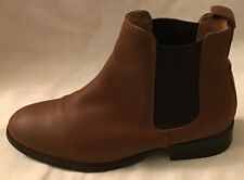 Office Ladies Leather Tan Ankle Boots In Good Condition Size Eu 38 UK 5