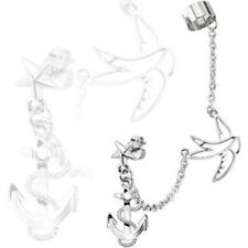 Chain Linked Star Ear Stud and Ear Cuff with Anchor and Swallow Dangles