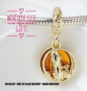🖤🎀 SIMBA AND MUFASA Lion King Charm Disney European Gold Tone * Gift Wrapped *