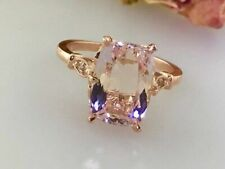 3Ct Cushion-Cut Morganite 14K Rose Gold Finish Women Solitaire Engagement Ring
