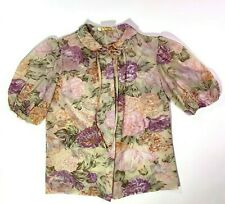 Vintage Reve Sheer Floral Print Puff Sleeve Top Size Small Button Front