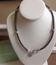 "Judith Ripka Sterling Verona Braided 20"" Necklace w/ Heart Charm in GUNMETAL"