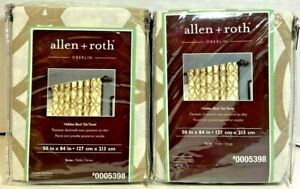 """LOT of 2 allen + roth Oberlin 50"""" x 84"""" Straw Cotton Curtin Panel 0005398 NEW"""