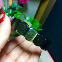 Genuine14x12mm Natural Gold Obsidain Flash Gems Rectangle Beads Bracelet AAAAA