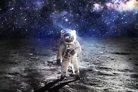 A1 | Astronaut Moon Walk Poster Art Print 60 x 90cm 180gsm Space Sky Gift #8439