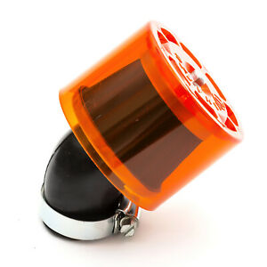 35mm Pitbike Air Filter Orange Performance Mushroom Angled Neck With Cover