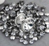 200 Sets 8mm CZ Crystals Rhinestone Rivets Rapid Silver Nailhead Spots Studs DIY